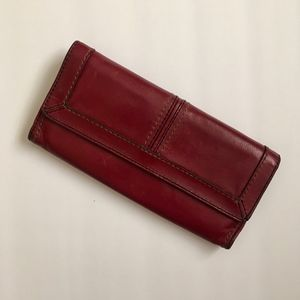 Fossil Red Leather Long Trifold Wallet